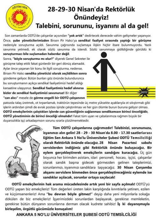 ODTÜ'de Rektörlük Önünde Hak ve Özgürlük Nöbeti